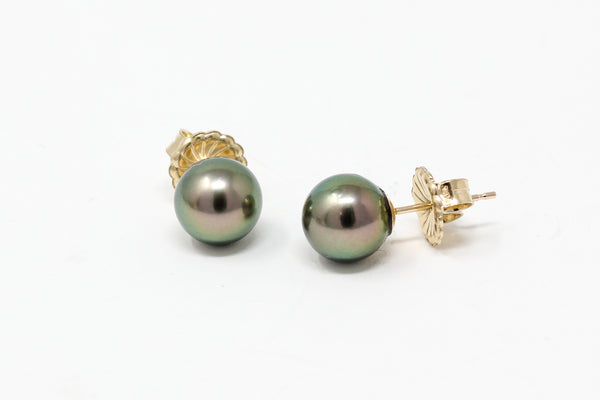 RARE! tiny tahitian pearl peacock stud earrings