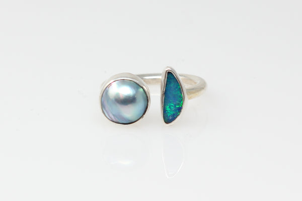 opal and blue mabe (*anysize*) ring