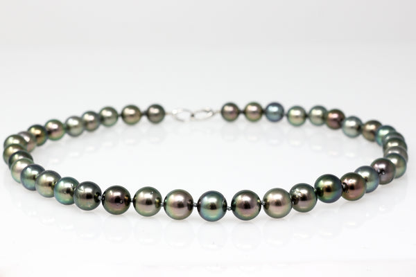 dark rainbow tahitian pearl necklace