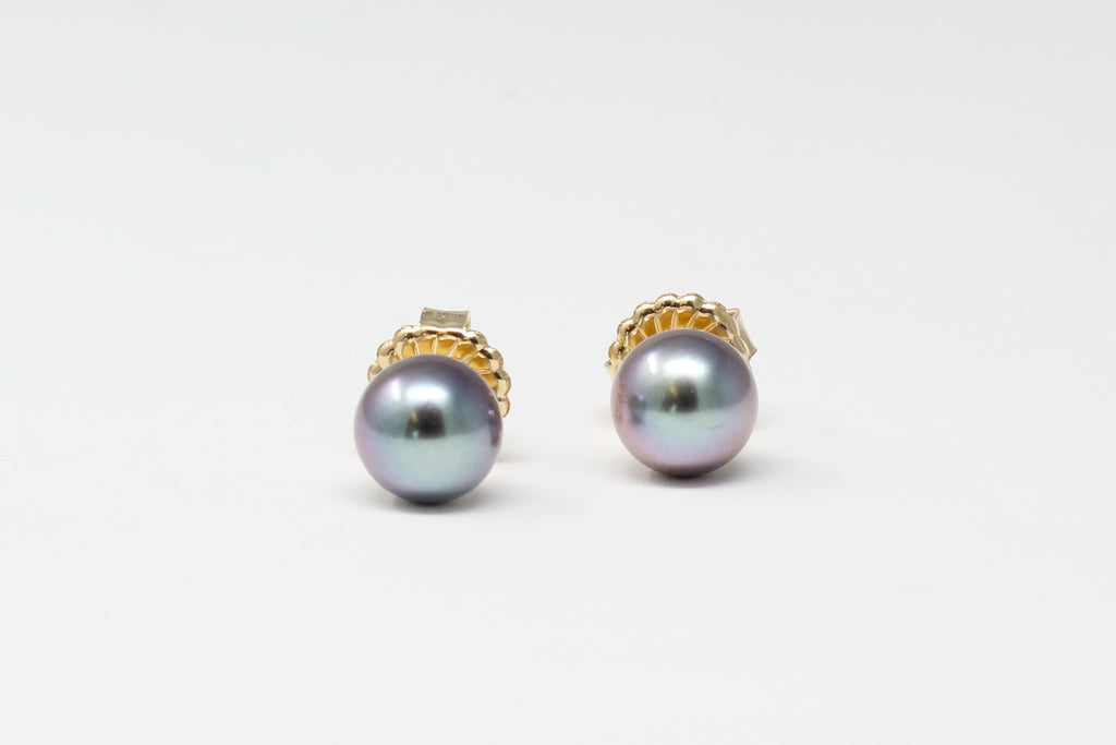 silver with blue and lavender overtones 9.5mm Tahitian pearl studs