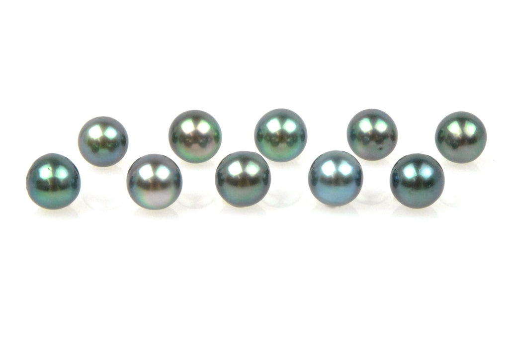 10 piece lot of blue/green tahitian pearls