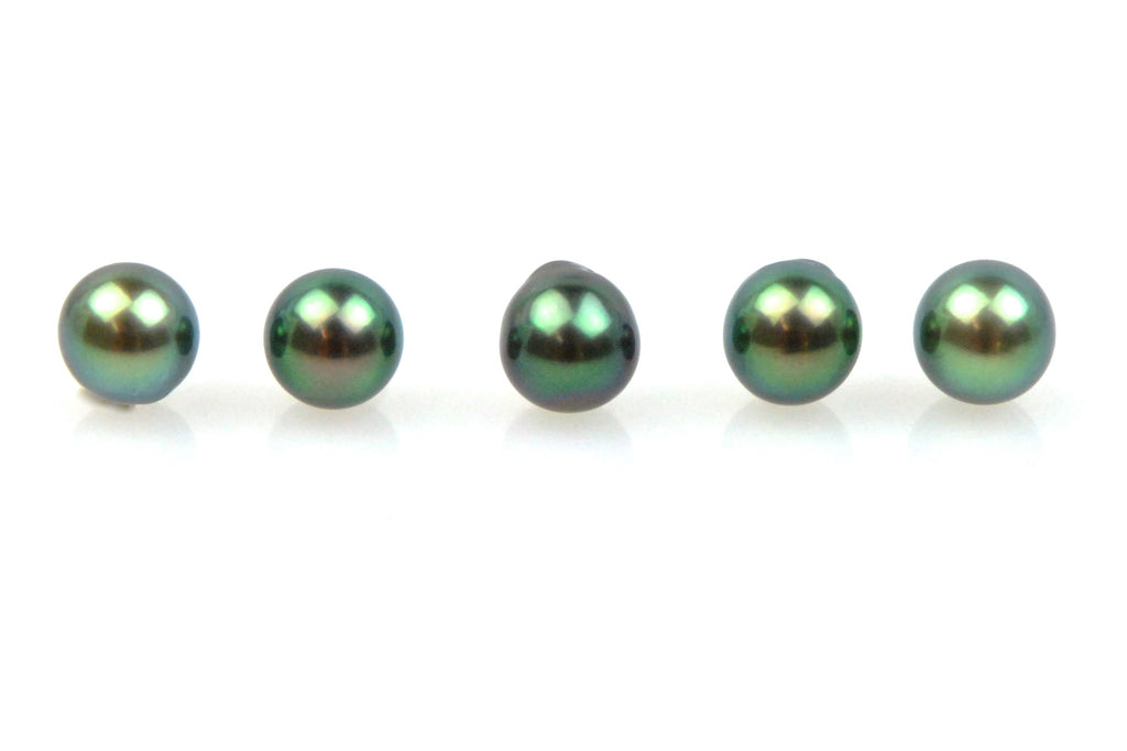 5 pearl lot of dark peacock tahitian pearls