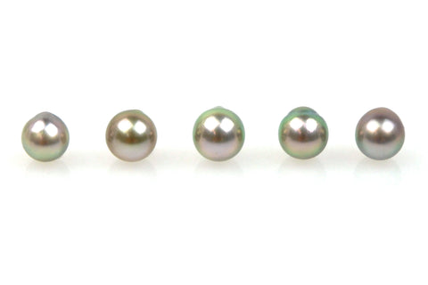 5 pearl lot of fancy color silver tahitian drops