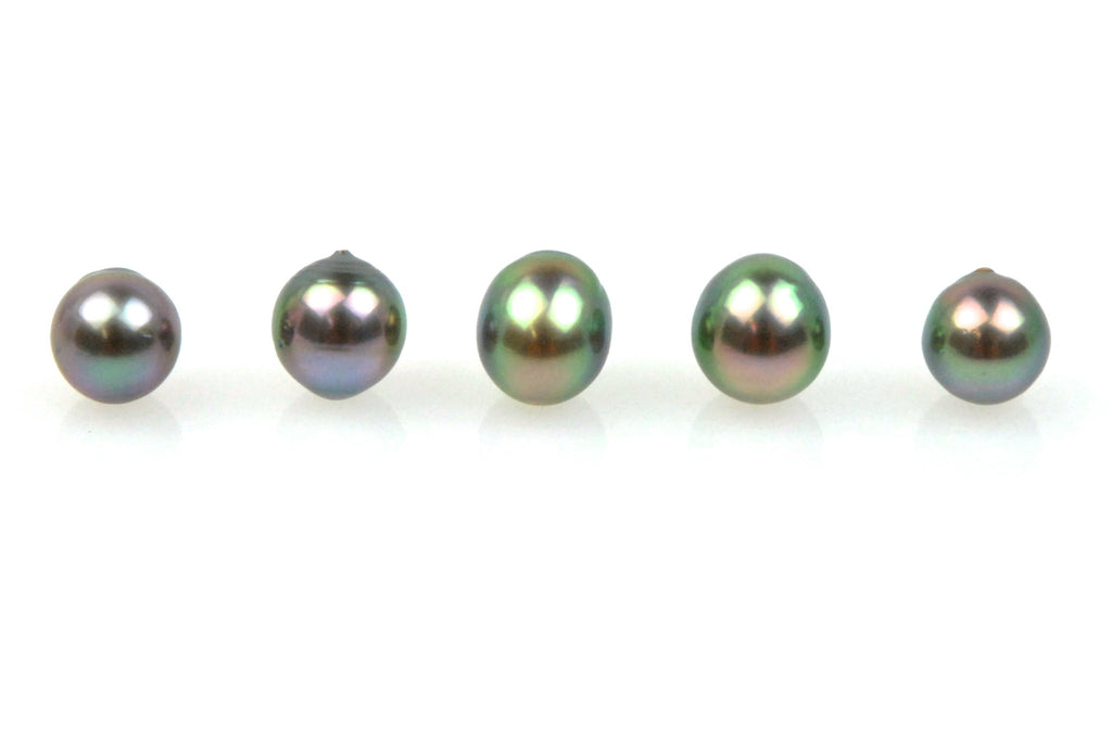 5 pearl lot of light rainbow tahitian pearls