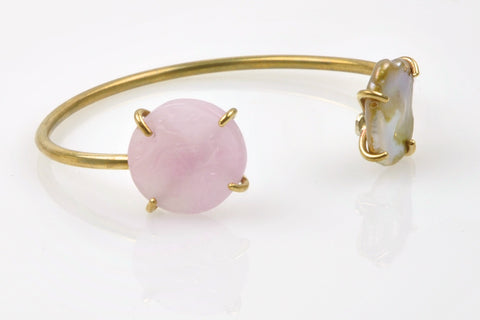glass cameo and pearl brass cuff