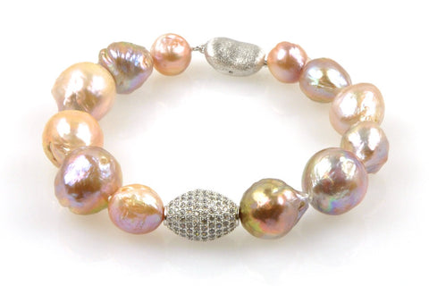 topaz bead and ripple pearl bracelet