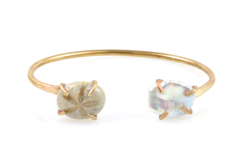 freshwater pearl and seashell brass cuff