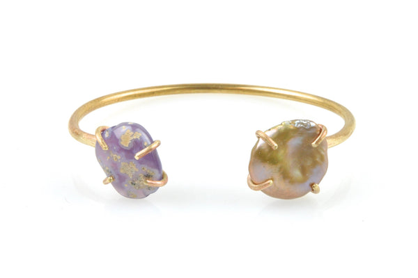 freshwater pearl and chalcedony brass cuff