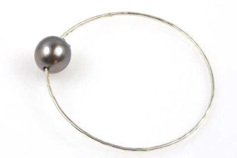 huge tahitian pearl silver bangle