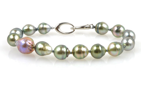 circle tahitian and japan kasumi pearl bracelet