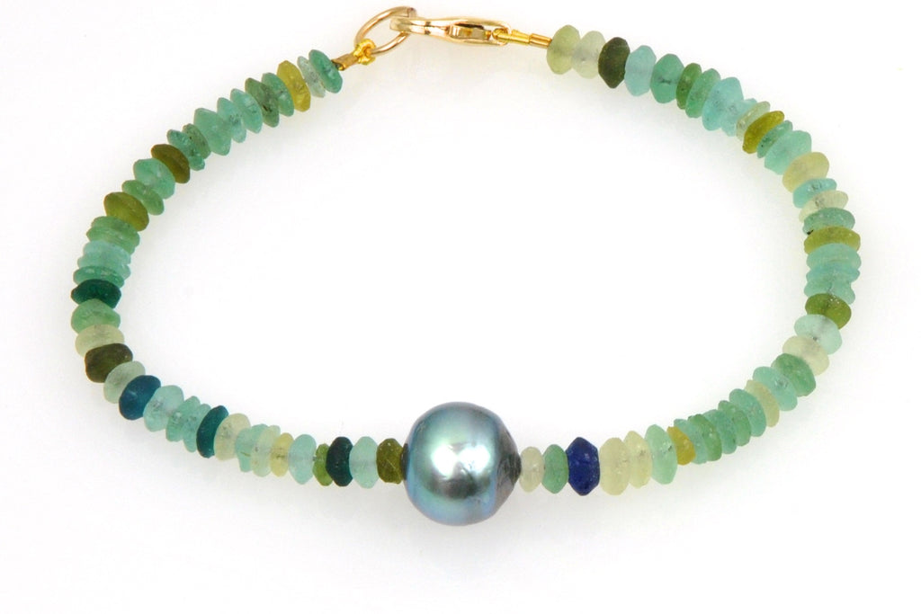 sea glass and tahitian pearl bracelet