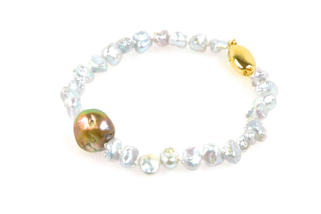 baroque japan kasumi and blue keshi pearl bracelet