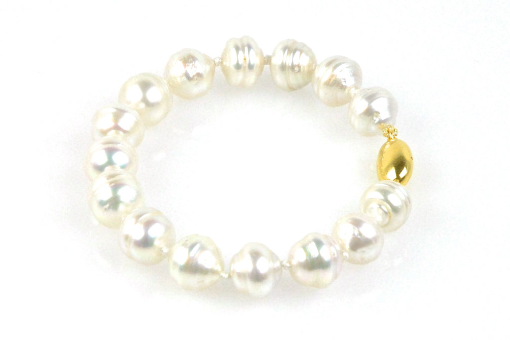 banded white south sea pearl bracelet