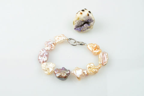 eccentric multicolor chinese freshwater pearl bracelet