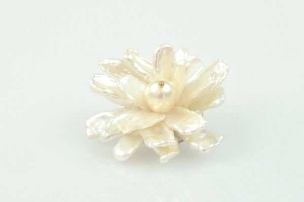 white pearl flower brooch