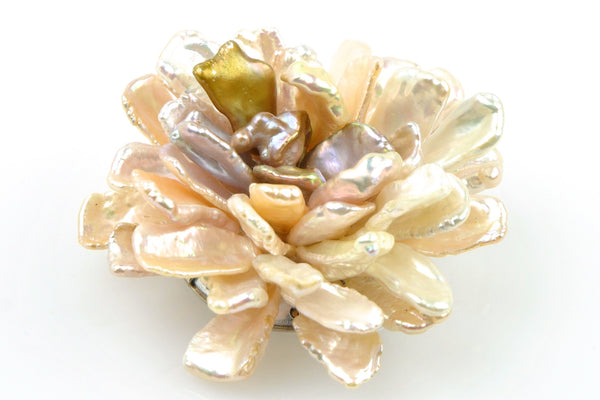 large petal pearl rose flower brooch