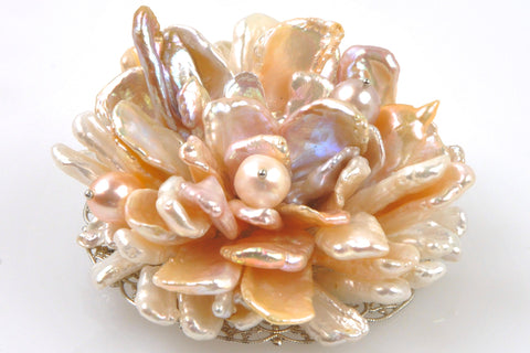 flowering petal bloom pearl brooch
