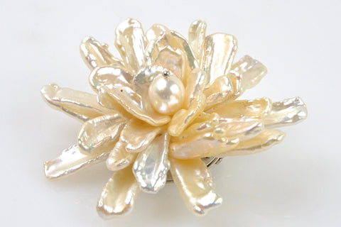 glowing petal bloom pearl brooch