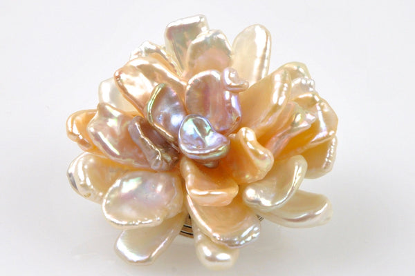 open petal flower mixed color pearl brooch