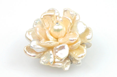 creamy white cluster blossom pearl brooch