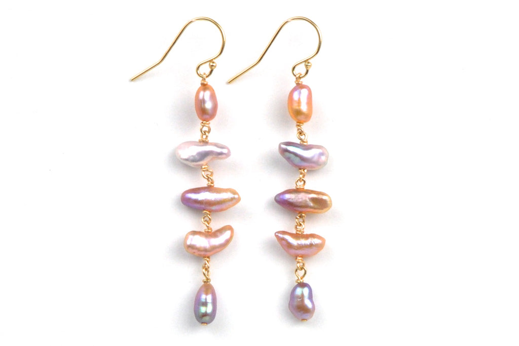 "colorful ""keshi"" cascade earrings"