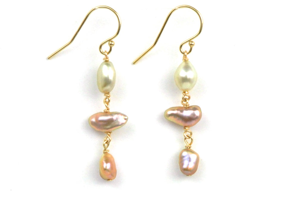 "tahitian and freshwater ""keshi"" pearl earrings"