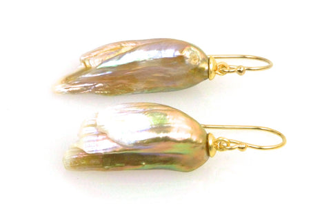 iridescent feather pearl earrings