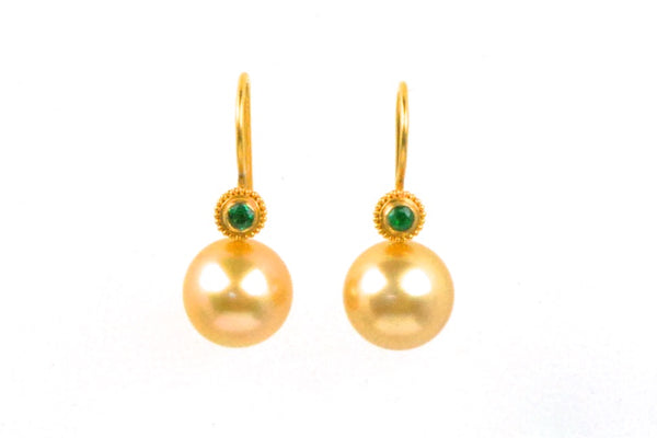 zita emerald and south sea pearl earrings