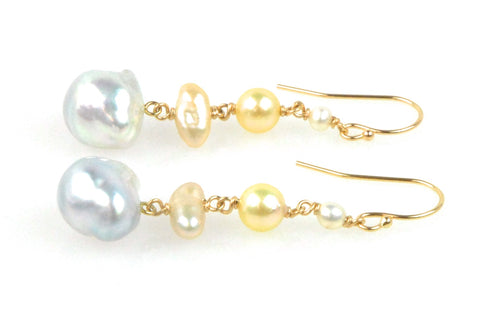 long layered pearl earrings
