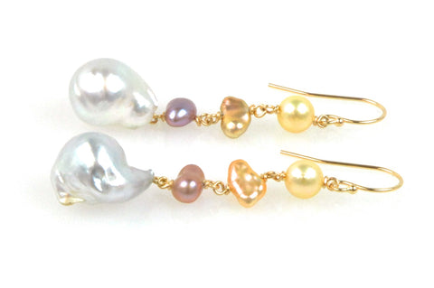 colorful pearl medley earrings