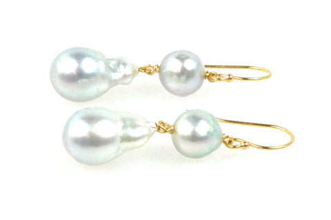 silvery blue japan akoya and south sea pearl earrings