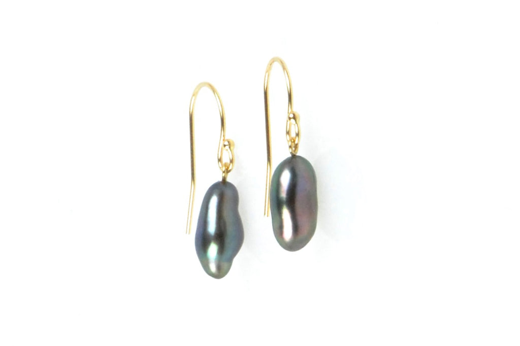 deep color tahitian keshi pearl earrings