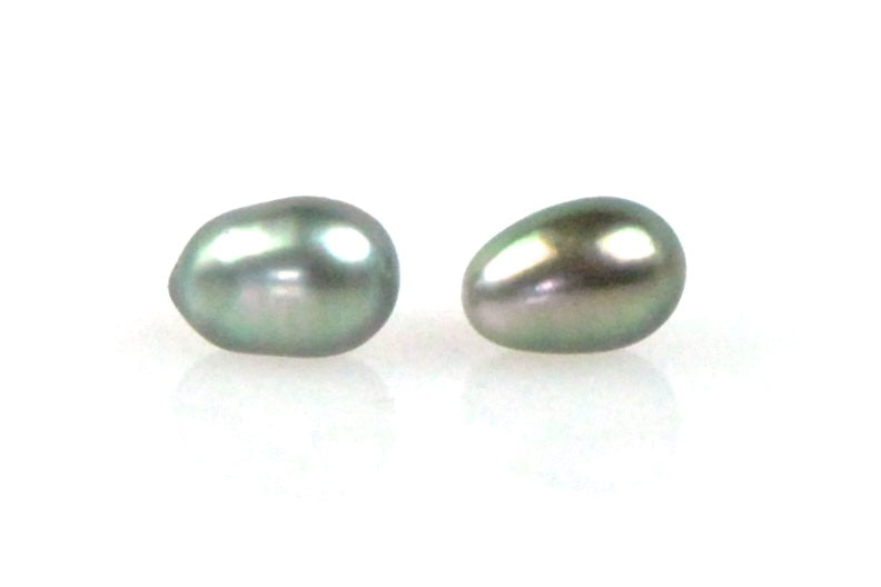 green tahitian keshi pearl stud earrings