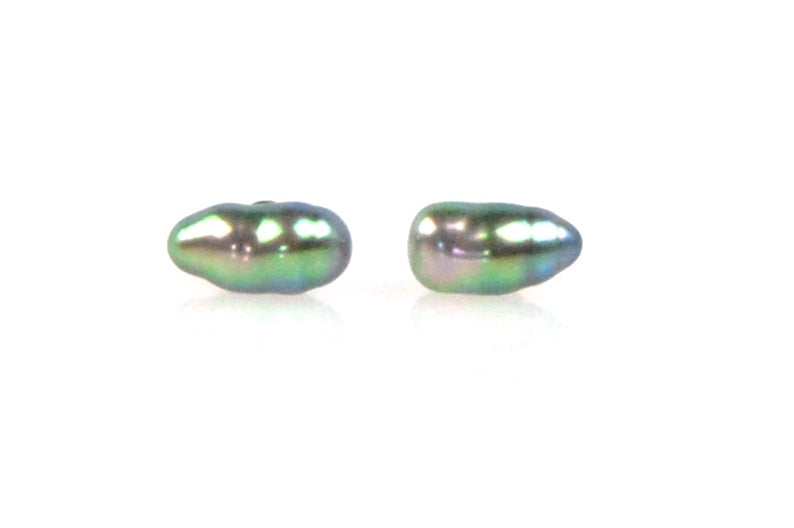 vibrant tahitian keshi pearl stud earrings