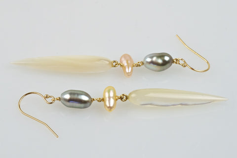 shell drop cascade earrings