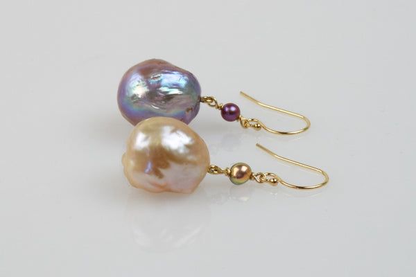 two tone japan kasumi pearl earrings