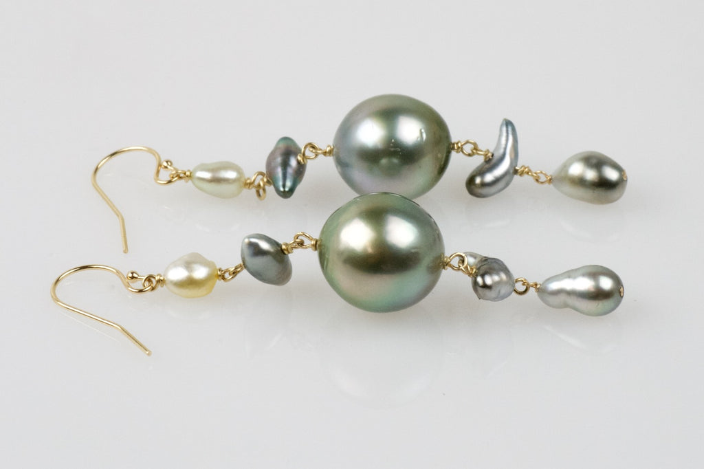 tunnel vision tahitian cascade pearl earrings