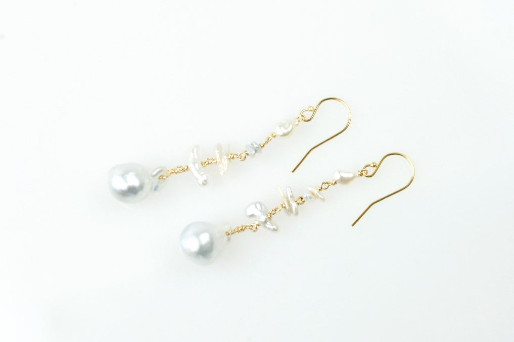 natural south sea and chinese pearl pendulum drop earrings