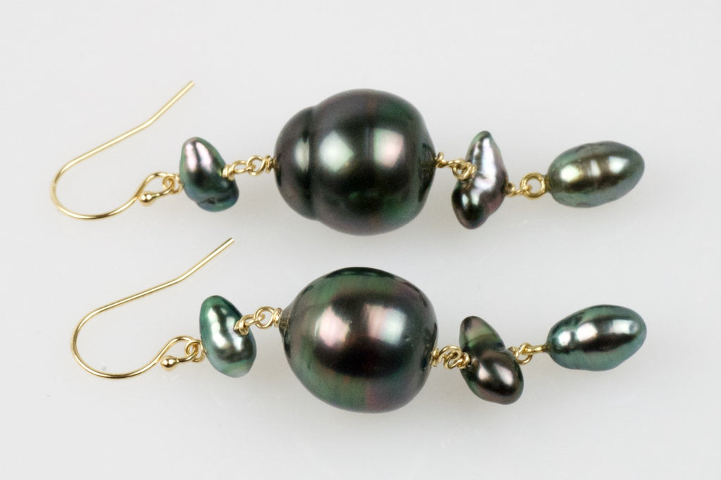 deep black rainbow tahitian pearl cascade earrings