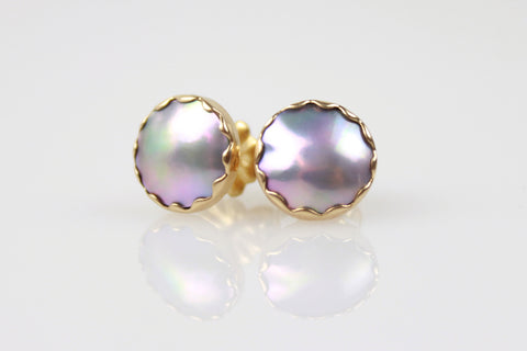 mini sea of cortez mabe pearl earrings