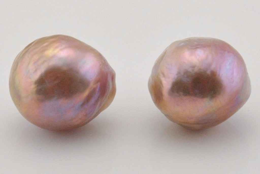iridescent ripple pearl stud earrings