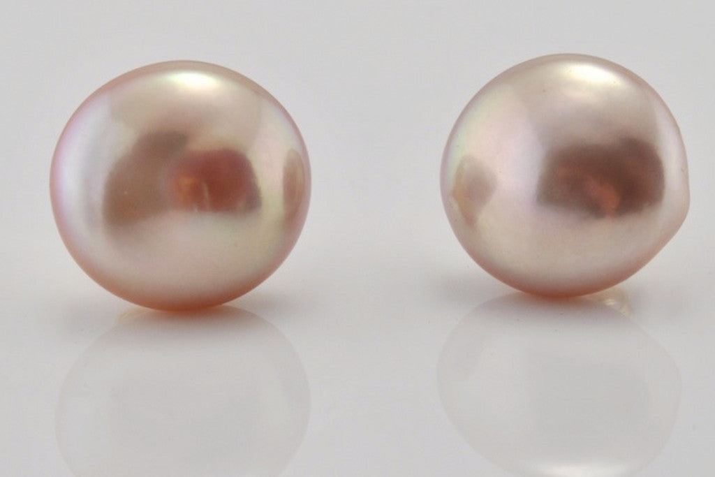 mauve button pearl and stud earrings
