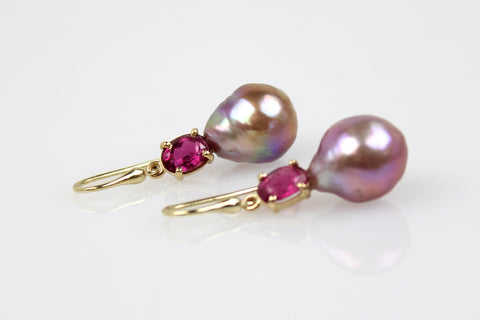 japan kasumi and pink tourmaline dangle earrings
