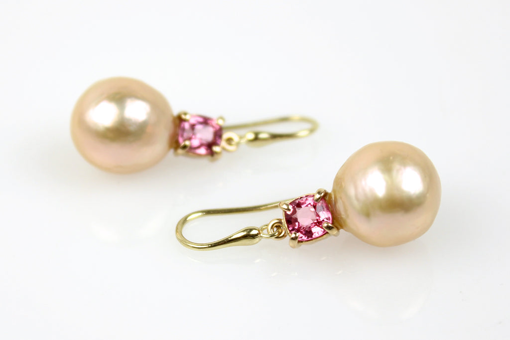 soft japan kasumi and brilliant pink tourmaline dangle earrings