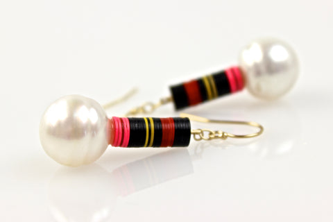 pinstripes and south sea pearl earrings