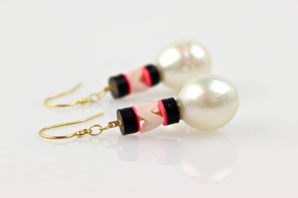 neon creeping south sea pearl earrings