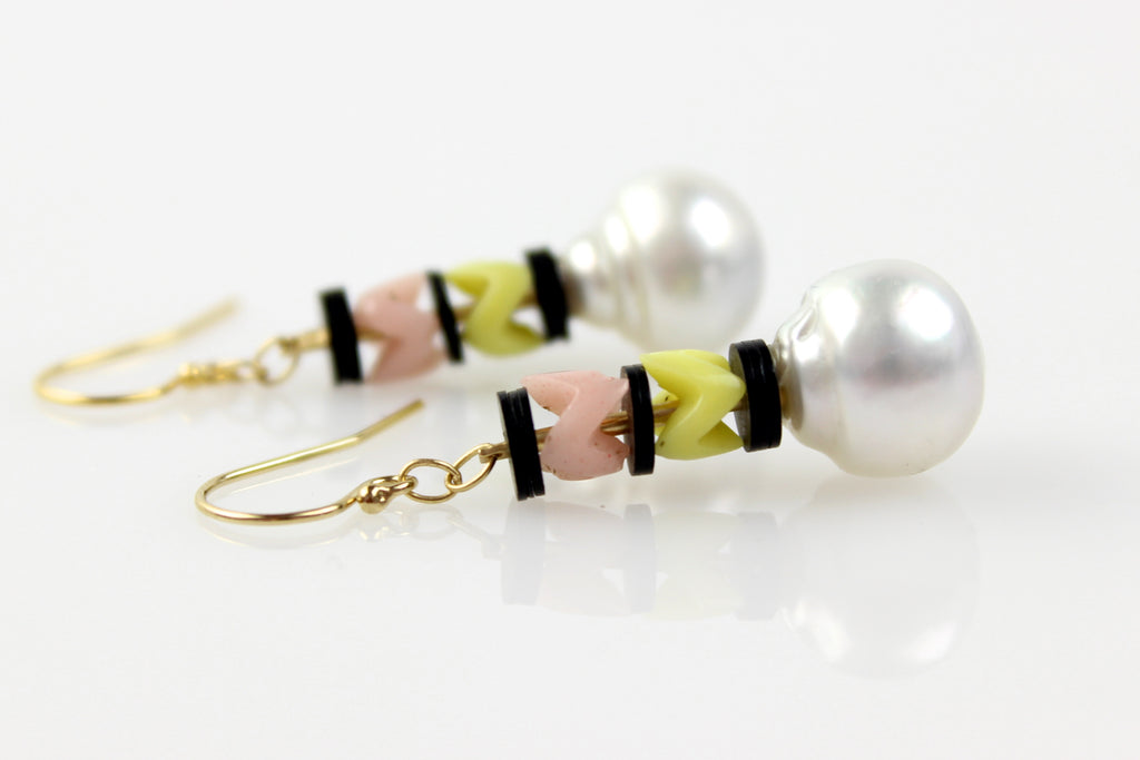 soft spring chevron south sea pearl earrings