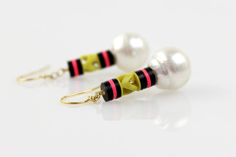 color party south sea pearl earrings
