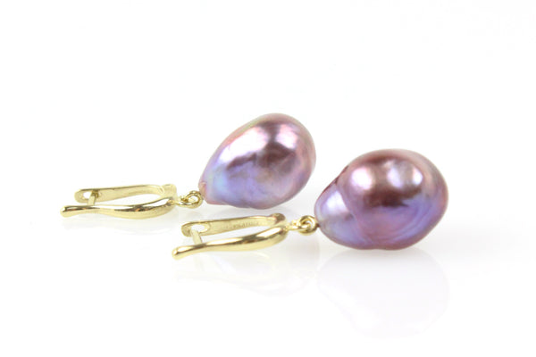 deep purple fresh water pearl drop earrings