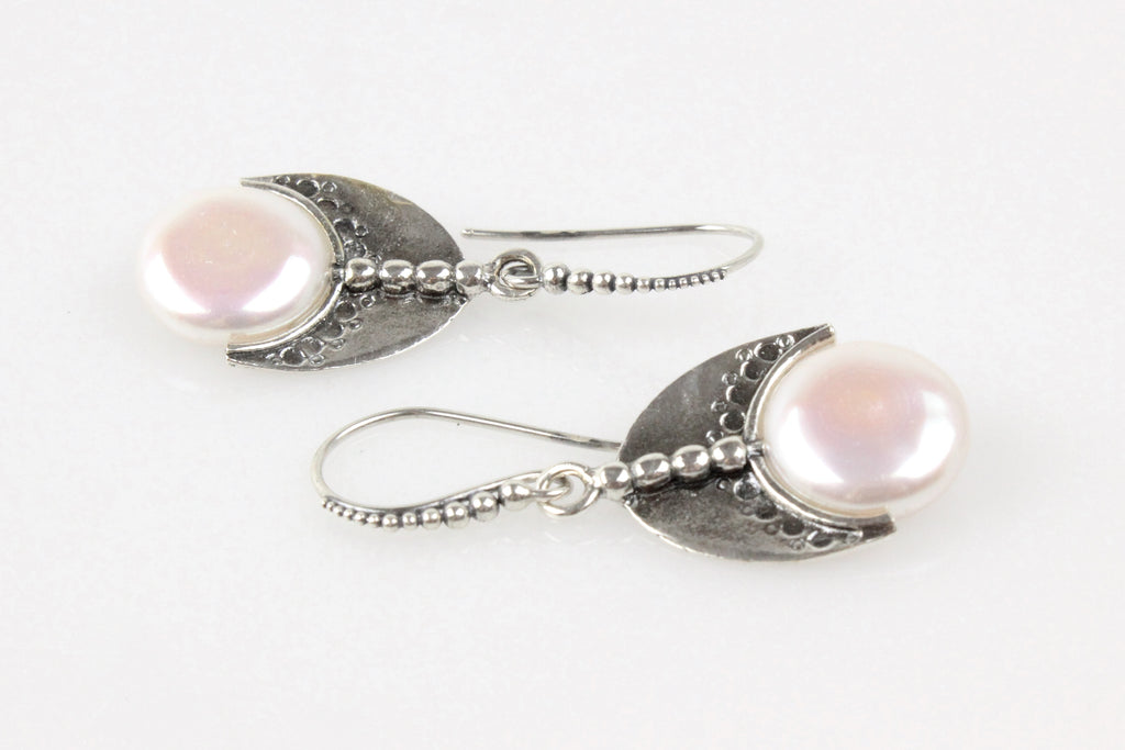 pearl shield earrings